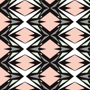 Geometrical Shapes in Peach, Gray, Cucumber and Cream