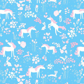 Unicorns bunnies and bubbles pink and blue