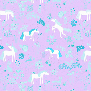 Unicorns bunnies and bubbles lavender and turquoise