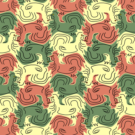 Tessellating Roosters fabric by eclectic_house on Spoonflower - custom fabric
