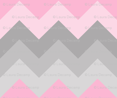 Pink Grey Gray Ombre Chevron LARGE