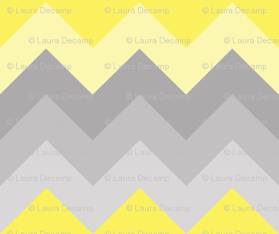 Yellow Grey Gray Ombre Chevron LARGER SIZE