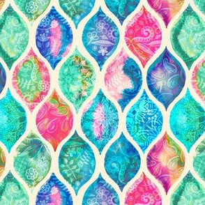 Watercolor Ogee Patchwork Pattern small