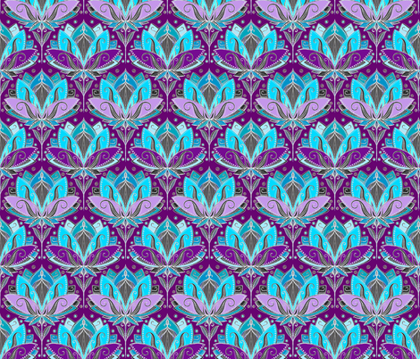 Art Deco Lotus Rising in Turquoise Purple Teal Small Version fabric by micklyn on Spoonflower - custom fabric