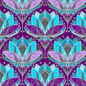 Art Deco Lotus Rising in Turquoise Purple Teal Small Version