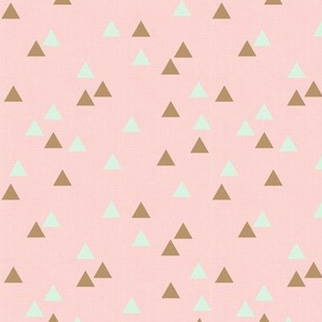 Triangles on Pink Faux Linen