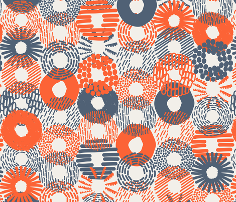 Assorted Donuts and Bagels navy and orange fabric by orozco_studio on Spoonflower - custom fabric