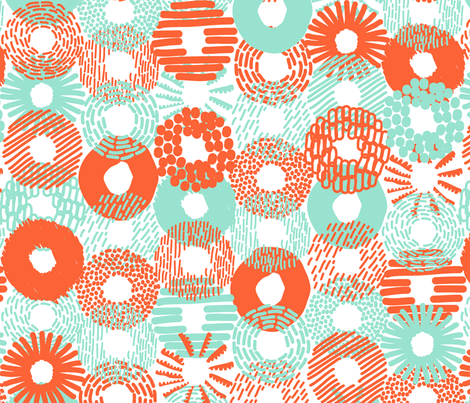 Assorted Donuts and Bagels mint and orange fabric by orozco_studio on Spoonflower - custom fabric