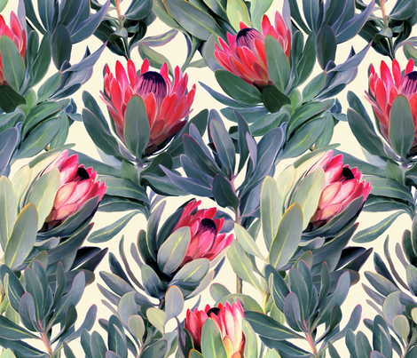 Painted Protea Floral Extra Large Version fabric by micklyn on Spoonflower - custom fabric