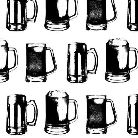 Beer Mugs // Large fabric by thinlinetextiles on Spoonflower - custom fabric