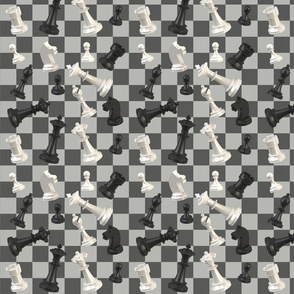 chess pieces on checked background