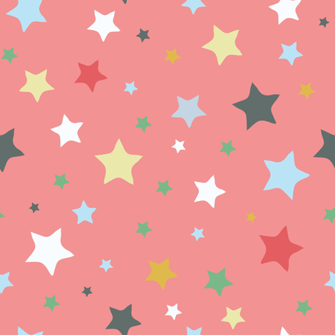 Stars, red fabric by michellegracedesign on Spoonflower - custom fabric