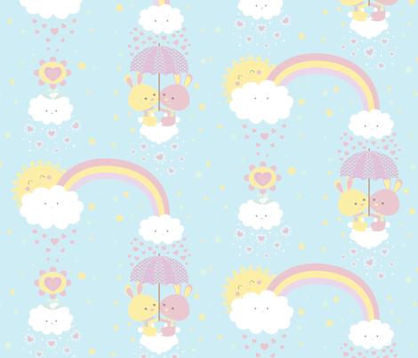 Cloudy bunny fabric by gnoppoletta on Spoonflower - custom fabric