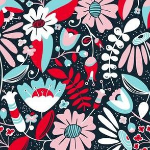 Annabelle - Floral Flirt Black Red Aqua