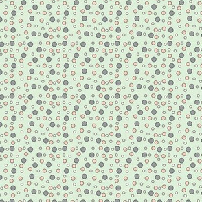 Peach & Gray Dots On Green