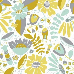 Annabelle - Floral Meadow Yellow & Grey