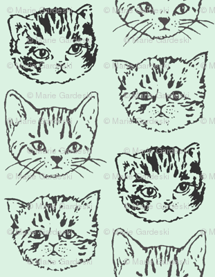 "Cute Cats | Mint/Aqua | 1"" Kitten Faces"