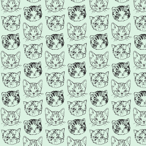 "Cute Cats | Mint/Aqua | 1"" Kitten Faces fabric by imaginaryanimal on Spoonflower - custom fabric"