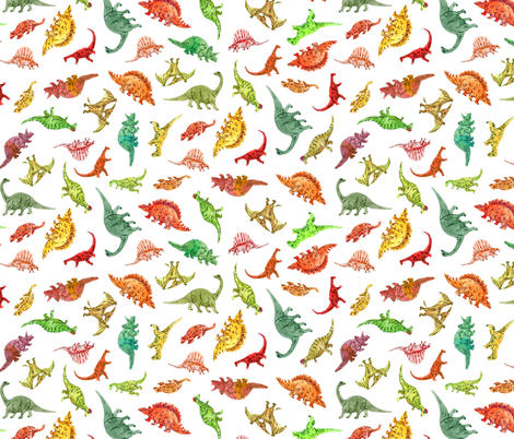 Dinosaur Party | White Background fabric by imaginaryanimal on Spoonflower - custom fabric