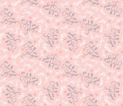 Poem Script - Pink fabric by pinky_wittingslow on Spoonflower - custom fabric