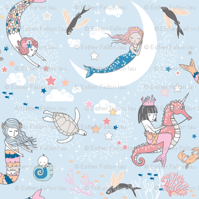 Mermaid Lullaby (blue) SMALL