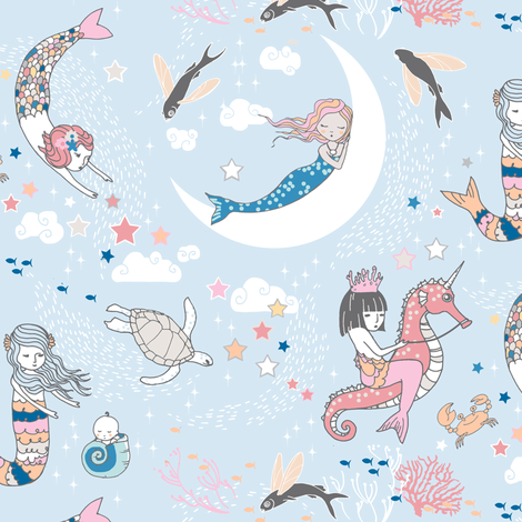 Mermaid Lullaby (blue) SMALL fabric by nouveau_bohemian on Spoonflower - custom fabric
