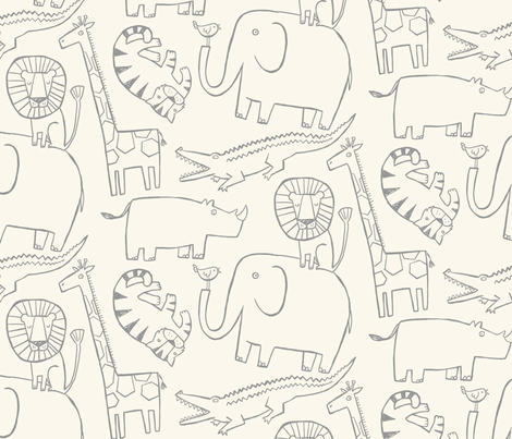 Lullaby Jungle (Natural/Gray) fabric by leanne on Spoonflower - custom fabric