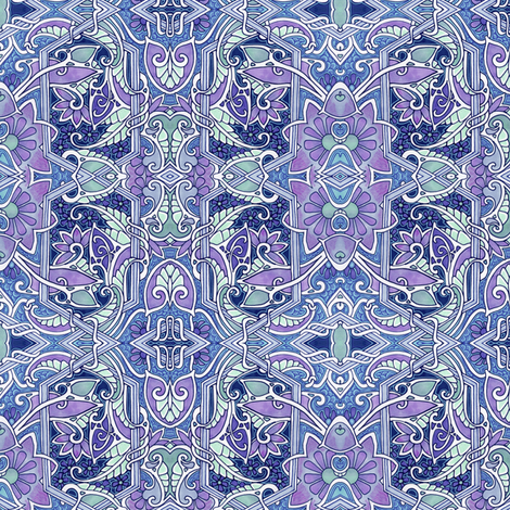 Purple Paisley Blues (and Greens) fabric by edsel2084 on Spoonflower - custom fabric