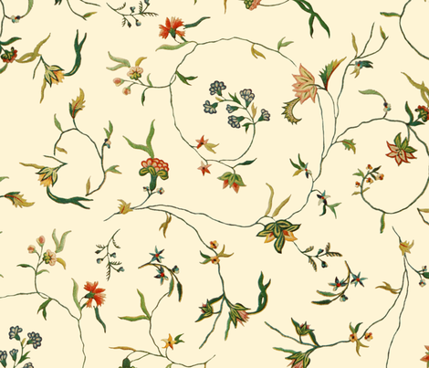 Cecile Embroidered Chintz  ~ Gypsophila  fabric by peacoquettedesigns on Spoonflower - custom fabric