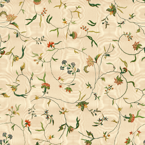 Cecile Embroidered Chintz  ~ Gypsophila Moire  fabric by peacoquettedesigns on Spoonflower - custom fabric