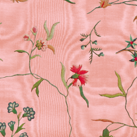 Cecile Embroidered Chintz  ~ Dauphine Moire  fabric by peacoquettedesigns on Spoonflower - custom fabric
