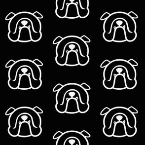 English Bulldog silhouette in white & black