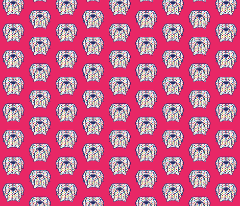 Mastiff face silhouette in polka dots fabric by cheeky~hodgepodge on Spoonflower - custom fabric