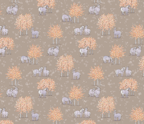 Horses and Trees fabric by thelazygiraffe on Spoonflower - custom fabric