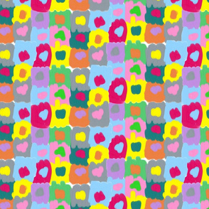 Cheerful Painted Squares with Dots Clown Pallete