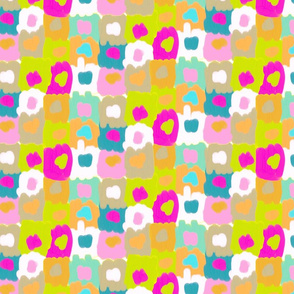 Cheerful Painted Squares with Dots Pink and Khaki Pallete