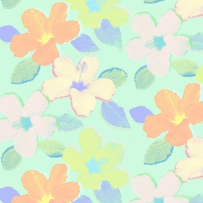Pastel Neon Hibiscus Flowers on Mint Green