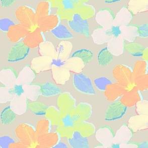 Pastel Neon Hibiscus Flowers on Neutral Beige