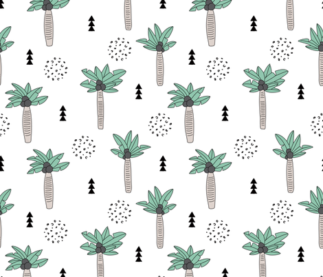 Cool summer geometric palm tree tropical holiday design gender neutral black and white beige green LARGE fabric by littlesmilemakers on Spoonflower - custom fabric