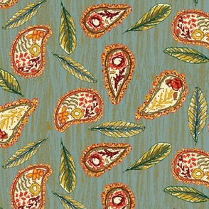 Autumnal Hand Drawn Paisley with Leaves