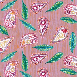 Pink Hand Drawn Paisley with Leaves