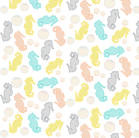 Seahorses & Bubbles, White fabric by pearl&phire on Spoonflower - custom fabric