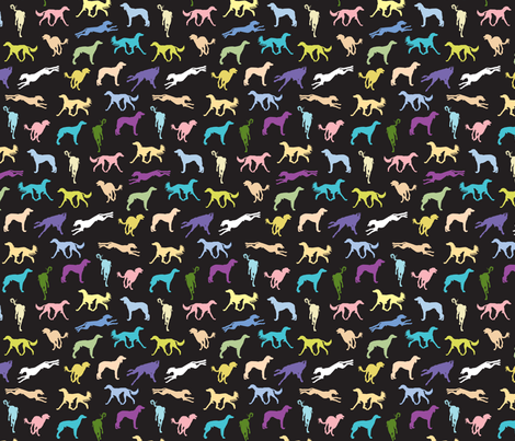 Salukis BLACK fabric by gryphonart on Spoonflower - custom fabric