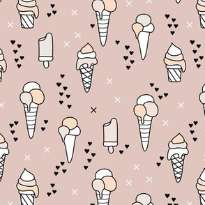 Cute ice cream popsicle cream candy dream kids illustration i love summer scandinavian style pattern gender neutral beige