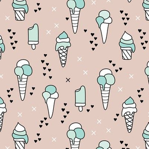 Cute ice cream popsicle cream candy dream kids illustration i love summer scandinavian style gender neutral mint beige