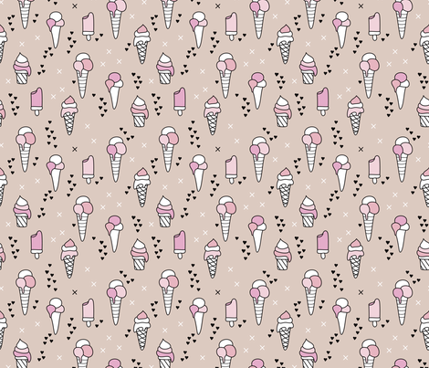 Cute ice cream popsicle cream candy dream kids illustration i love summer scandinavian style pastel blush pink fabric by littlesmilemakers on Spoonflower - custom fabric