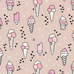 Cute ice cream popsicle cream candy dream kids illustration i love summer scandinavian style pastel blush pink