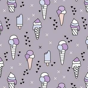 Cute ice cream popsicle cream candy dream kids illustration i love summer scandinavian style violet girls