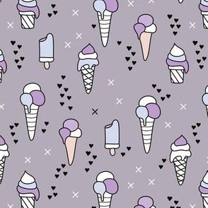 Cute ice cream popsicle cream candy dream kids illustration i love summer scandinavian style violet girls