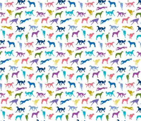 Salukis WHITE fabric by gryphonart on Spoonflower - custom fabric